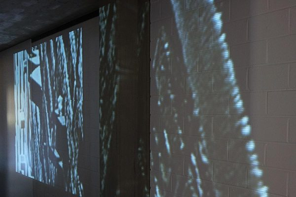 Rauminstallation, site specific installation, the virtual in the concrete, 2015 Projektion / Projection, 1000 x 650 cm, Clemens Sels Museum Neuss, 2015