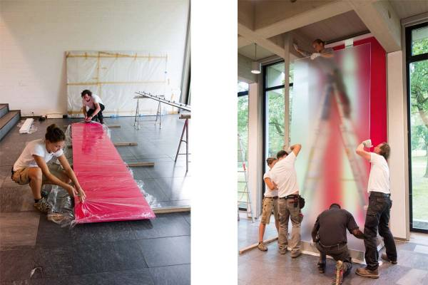 Rauminstallation, site specific installation, ANSCHEINEND, APPARENTLY, 2015, mixed media, 450 x 170 x 22 cm (installing the artwork)