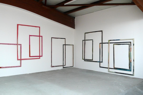 Installation art, framework, 2012, frames, canvas, 450 x 1200 cm