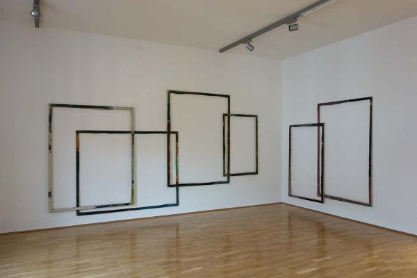 Installation art, framework, 2012, frames, canvas, 450 x 1200 cm, dieKUNSTSAMMLUNG des Landes Oberösterreich, Linz 2014