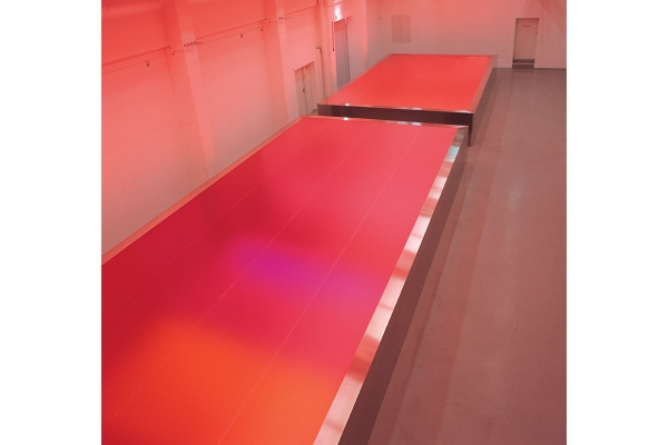 Rotlichtbezirk / redlight district, site specific installation, 2002, mixed media, 102 x 1430 x 440 cm, & 102 x 740 x 440 cm, LVR-LandesMuseum Bonn