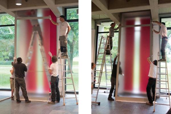 Rauminstallation, site specific installation, ANSCHEINEND, APPARENTLY, 2015, Installation, mixed media, 450 x 170 x 22 cm (installing the artwork)