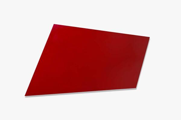 Rita Rohlfing, Monochrome Painting, Shaped Aluminum, R.o.T., 1999, Ölfarbe auf Aluminium, 91 x 150 x 3 cm